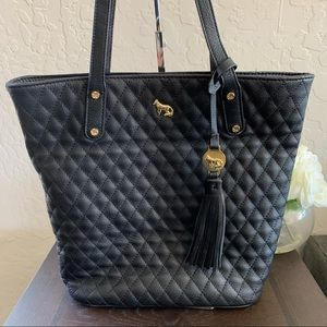 Emma Fox Quilted Small Tote Shoulder Bag Black